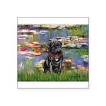 Lilies (#2) & Black Pug Square Sticker 3