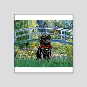 "Bridge / Black Pug Square Sticker 3"" x 3"""