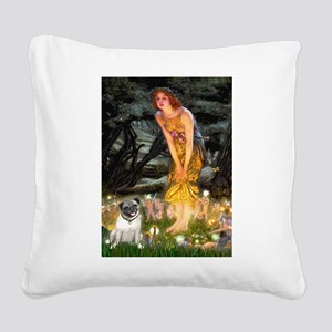 Fairies & Pug Square Canvas Pillow