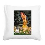Fairies & Pug Square Canvas Pillow