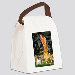 Fairies & Pug Canvas Lunch Bag