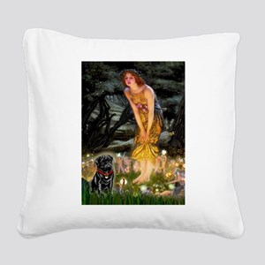 Fairies & Black Pug Square Canvas Pillow