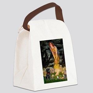 Fairies & Black Pug Canvas Lunch Bag