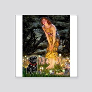"Fairies & Black Pug Square Sticker 3"" x 3"""