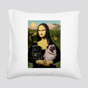 Mona's 2 Pugs Square Canvas Pillow