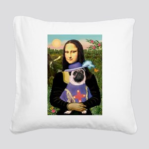Mona & Sir Pug Square Canvas Pillow