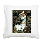 Ophelia (2) & Black Pug Square Canvas Pillow