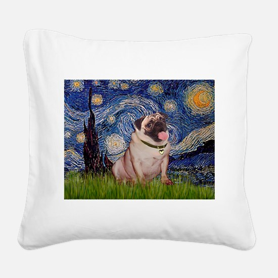 Starry Night and Pug Square Canvas Pillow