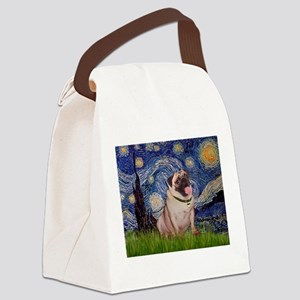 Starry Night and Pug Canvas Lunch Bag