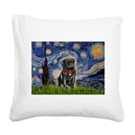 Starry Night / Black Pug Square Canvas Pillow