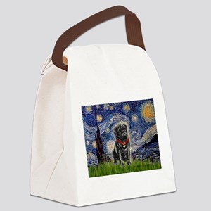 Starry Night / Black Pug Canvas Lunch Bag