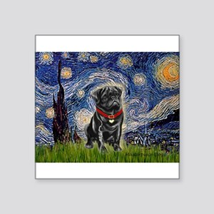"Starry Night / Black Pug Square Sticker 3"" x 3"""