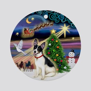 Xmas Magic with a Rat Terrier Ornament (Round)