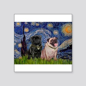 "Starry Night / 2 Pugs Square Sticker 3"" x 3"""