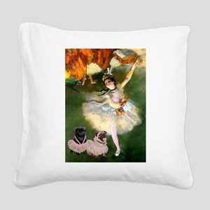 Dancer / 2 Pugs Square Canvas Pillow