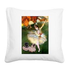 Dancer / 2 Pugs Square Canvas Pillow