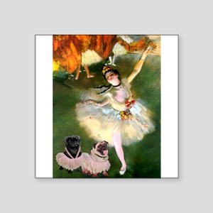 "Dancer / 2 Pugs Square Sticker 3"" x 3"""