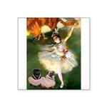 Dancer / 2 Pugs Square Sticker 3