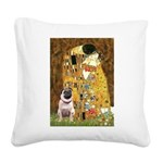 The Kiss / Pug Square Canvas Pillow