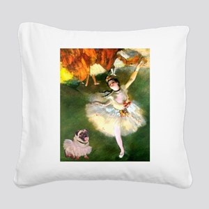 Dancer 1 & fawn Pug Square Canvas Pillow