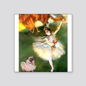 "Dancer 1 & fawn Pug Square Sticker 3"" x 3"""