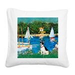 Sailboats / Rat Terrier Square Canvas Pillow