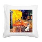 Cafe / Rat Terrier Square Canvas Pillow