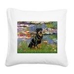 Lilies2/Rottweiler Square Canvas Pillow