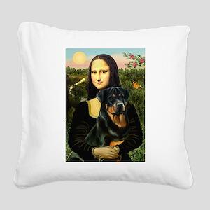 Mona Lisa/Rottweiler Square Canvas Pillow
