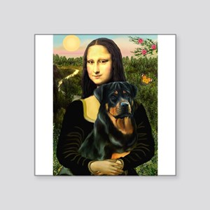 "Mona Lisa/Rottweiler Square Sticker 3"" x 3"""