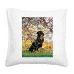 Spring / Rottweiler Square Canvas Pillow