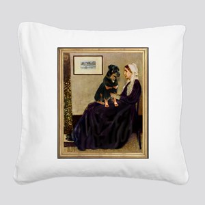 Mom's Rottweiler Square Canvas Pillow