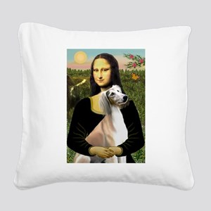 Mona Lisa (new) & Saluki Square Canvas Pillow