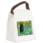 Irises / Schipperke #2 Canvas Lunch Bag