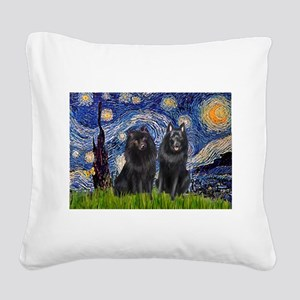 Starry Night & Schipperke Square Canvas Pillow
