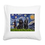 Starry Night & Schipperke Square Canvas Pillow