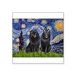Starry Night & Schipperke Square Sticker 3