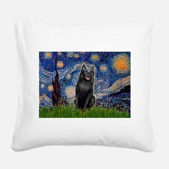 Starry / Schipperke #5 Square Canvas Pillow