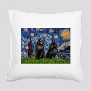 Starry / Schipperke Pair Square Canvas Pillow