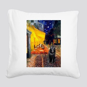 Cafe & Schipperke Square Canvas Pillow