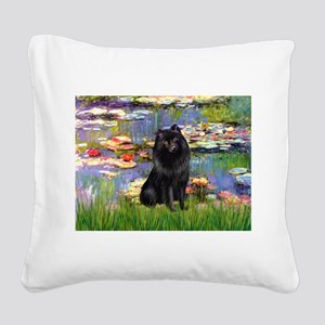 Lilies (2) & Schipperke Square Canvas Pillow