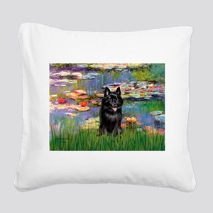Lilies / Schipperke #4 Square Canvas Pillow