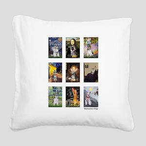 FamousArtSchnauzers (clr) Square Canvas Pillow