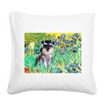 Irises / Miniature Schnauzer Square Canvas Pillow
