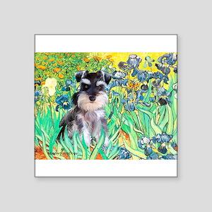 "Irises / Miniature Schnauzer Square Sticker 3"" x 3"