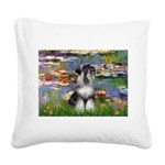 Lilies / Schnauzer Square Canvas Pillow