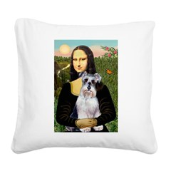 Mona Lisa/Schnauzer (#2) Square Canvas Pillow
