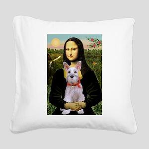 Mona Lisa / Min Schnauzer Square Canvas Pillow
