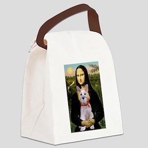 Mona Lisa / Min Schnauzer Canvas Lunch Bag