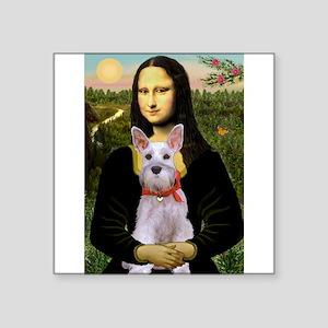 """Mona Lisa / Min Schnauzer Square Sticker 3"""" x 3"""""""